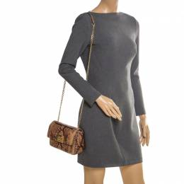 MICHAEL Michael Kors Brown Python Embossed Patent Leather Turnlock Crossbody Bag