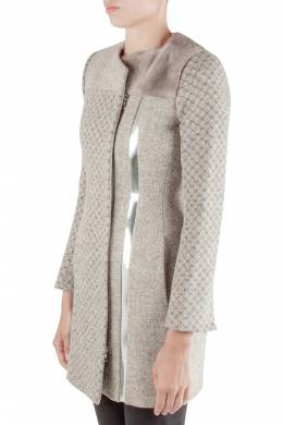 Peter Pilotto Beige Jacquard Wool Sliver Leather and Mink Fur Trim Double Breasted Coat S 204531