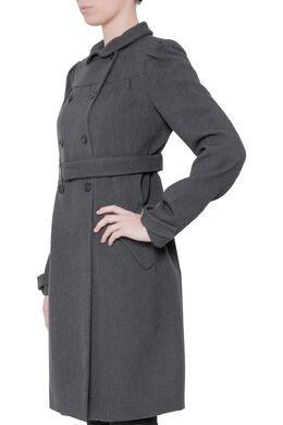 Miu Miu Dark Grey Twill Wool Double Breasted Belted Long Coat M 204524