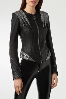 Черная кожаная куртка со стразами Philipp Plein 1795138494
