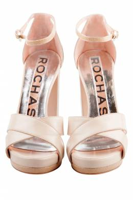 Rochas Beige Leather Cross Strap Platform Block Heel Sandals Size 37