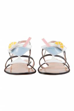 Moschino Multicolor Leather Cocktail Flat Sandals Size 37