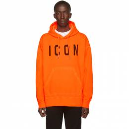 Dsquared2 Orange Fluo Dyed Icon Hoodie 192148M20200504GB