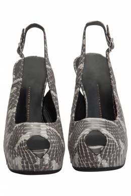 Giuseppe Zanotti Design Grey Python Leather Peep Toe Slingback Platform Pumps Size 37.5
