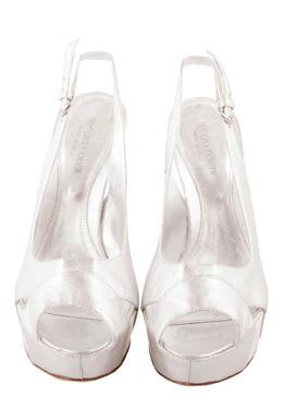 Sergio Rossi Silver Leather Peep Toe Slingback Platform Sandals Size 37