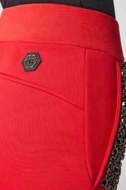 Красные брюки с кристаллами Philipp Plein 1795139136