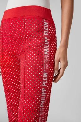Широкие красные брюки со стразами Philipp Plein 1795139137