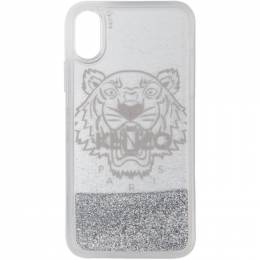 Kenzo Silver Glitter Tiger Head iPhone X/XS Case 192387M15300201GB