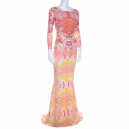 Roberto Cavalli Pink and Yellow Floral Print Ruched Bodice Maxi Dress S 206969