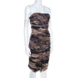 Diane Von Furstenberg Brown Silk Chiffon Strapless Lele Dress S 206582