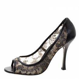 Sergio Rossi Black Lace And Leather Peep Toe Pumps Size 41