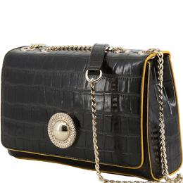 Versace Jeans Black Croc Embosed Faux Leather Chain Shoulder Bag 226976