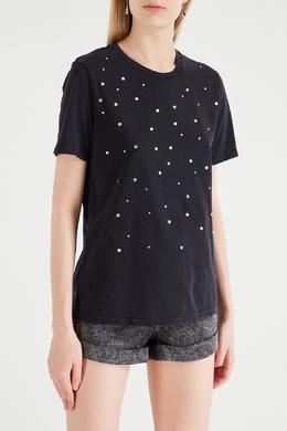 Черная футболка с жемчужным декором Maje 888139101