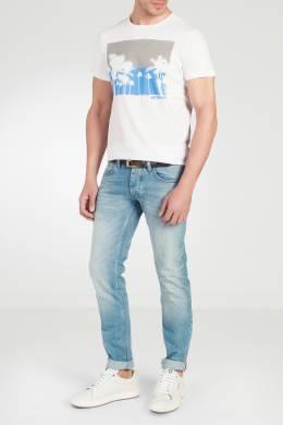Голубые джинсы с потертостями Strellson 585139375