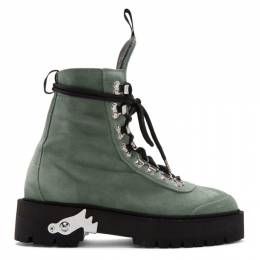 Off-White Green Suede Hiking Boots 192607F11300402GB