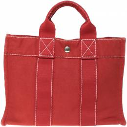 Hermes Red Canvas Fourre Tout PM Bag 198204