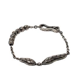 Bottega Veneta Textured Silver Beads Hook Bracelet 207174