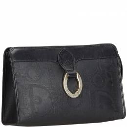 Christian Dior Black Oblique Coated Canvas and Leather Clutch Bag 198018