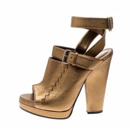 Bottega Veneta Metallic Gold Intrecciato Detail Leather Buckle Peep Toe Platform Sandals 39 207019