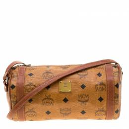 MCM Brown Visetos Coated Canvas and Leather Barrel Crossbody Bag 207120