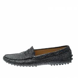 Tod's Black And Glitter Textured Leather Gommini Slip On Loafers Size 39.5 Tod's