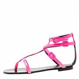 Giuseppe Zanotti Design Neon Pink Leather Ankle Strap Flat Sandals Size 38