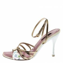 Louis Vuitton Multicolor Monogram Canvas And Leather Ankle Strap Open Toe Sandals Size 38 200819