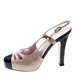 Chanel Beige/Black Glitter Textured Patent Leather Cut Out Detail Cap Toe CC Slingback Sandals Size 39.5 200939
