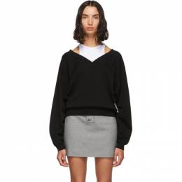 T By Alexander Wang Black and White Cropped Bi-Layer V-Neck Sweater 192214F10000501GB