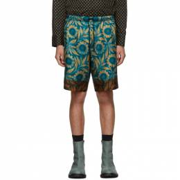 Dries Van Noten Blue and Brown Floral Shorts 192358M19102202GB