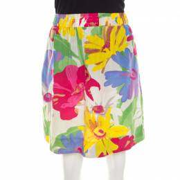 See By Chloe Mutlicolor Floral Print Cotton Silk Gathered Mini Skirt M 207267