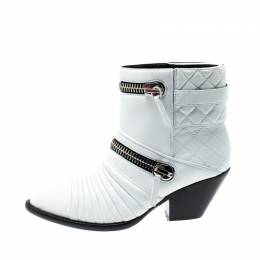 Giuseppe Zanotti Design White Quilted Leather Ankle Boots Size 38.5