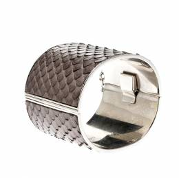 Celine Grey Python Leather Silver Tone Wide Cuff Bracelet