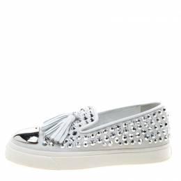 Giuseppe Zanotti Design Light Grey Crystal Studded Suede Tassel Detail Slip On Sneakers Size 38