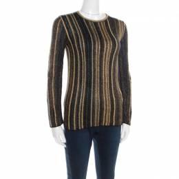 M Missoni Multicolor Striped Chunky Lurex Knit Crew Neck Sweater S 195884