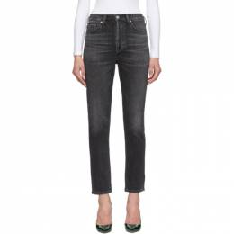 Citizens Of Humanity Black Olivia High-Rise Slim Ankle Jeans 1728-1056