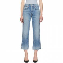 Re/Done Blue Originals Low Slung Crop Jeans 192800F06901401GB