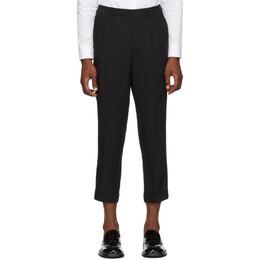 Ami Alexandre Mattiussi Black Pleated Carrot Fit Trousers 192482M19100405GB
