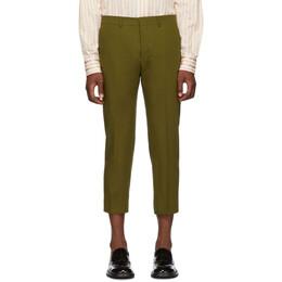 Ami Alexandre Mattiussi Green Cropped Trousers 192482M19100201GB
