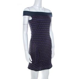 M Missoni Multicolor Patterned Lurex Knit Off Shoulder Dress M 208477