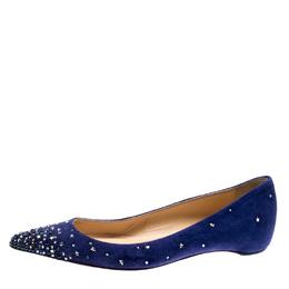 Christian Loboutin Blue Suede Crystal Star Embellished Gravitanita Ballet Flats Size 37.5 Christian Louboutin 207856