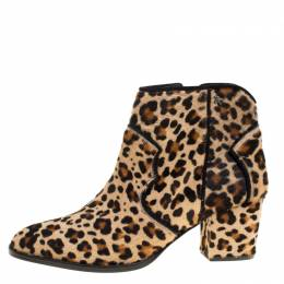 Zadig & Voltaire Brown Leopard Print Calf Hair Molly Leo Cowboy Boots Size 41 170993