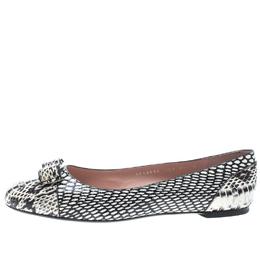 Salvatore Ferragamo Two Tone Python Varina Bow Ballet Flats Size 41 149527