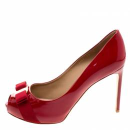Salvatore Ferragamo Red Patent Leather Plum Peep Toe Platform Pumps Size 40.5 120492