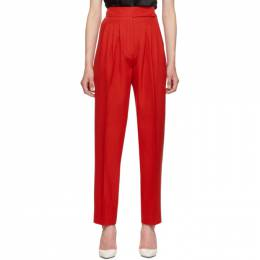 Burberry Red Marleigh Wool Pleated Trousers 192376F08700504GB