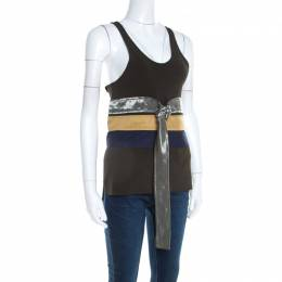 Celine Olive Green Knit Satin Belt Trim Racer Back Tank Top S