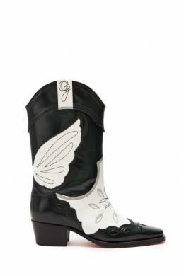 Кожаные сапоги в ковбойском стиле Ganni 2979140027