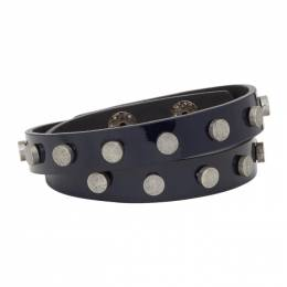 Faith Connexion Navy Leather Stud Bracelet 192848M14200101GB
