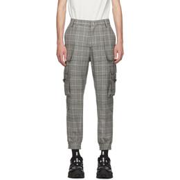 Juun.J Black and Grey Plaid Tapered Cargo Pants 192343M18800705GB