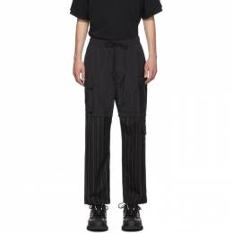 Juun.J Black Half-Pinstripe Cargo Pants 192343M18800301GB